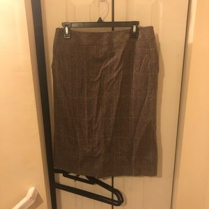 Max Mara Size 12 Brown Tweed Skirt